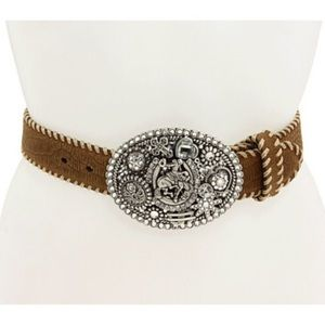 Leather Whipstitched Belt With Embellished Buckle